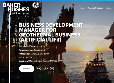Oferta Laboral: Business Development Manager para Geotermia (BHGE (Artificial Lift)