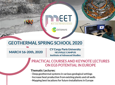 MEET – Geothermal Spring School, Universidad CY Cergy de París – 16-20 de marzo de 2020